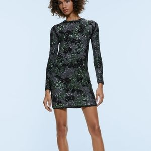 Zara Camo Sequin Dress Green Gray Medium
